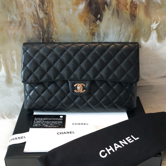 aee756bfb32255 CHANEL Bags | 18s Black Caviar Cc Turnlock Flap Clutch | Poshmark